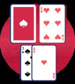シングルデッキでディーラーの表のカードが5か6なら8をダブルダウン